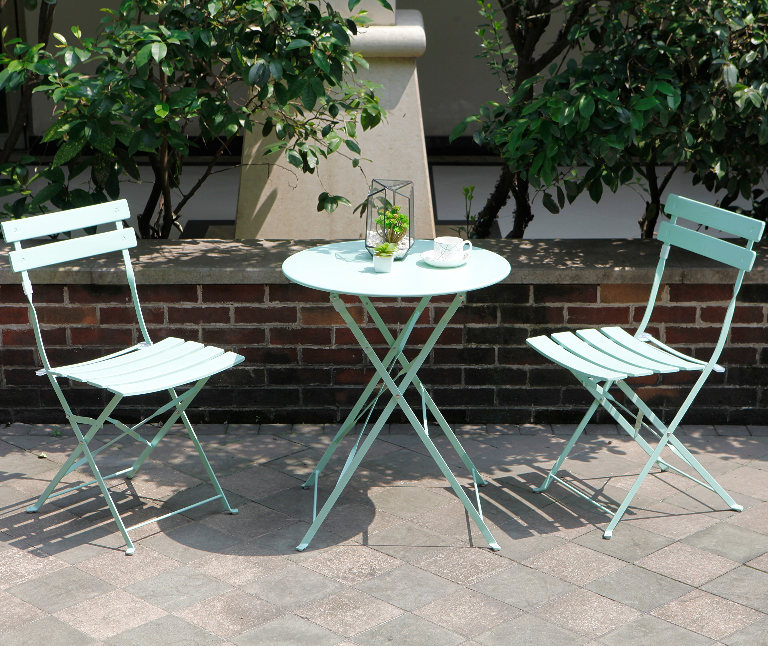 Grand Patio Premium Steel Bistro Set Folding Outdoor Furniture Sets 3 Piece Of Foldable Table And Chairs Macaron Blue In