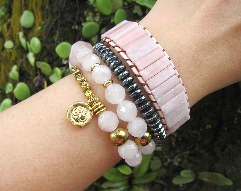 Pink Rose Quartz Mala Bracelet w/ 24K Gold Vermeil OM Charm | Natural Gemstones Bracelet | Fertility and Pregnancy Bracelet | Pink and Gold Bracelet | Summer Bracelet