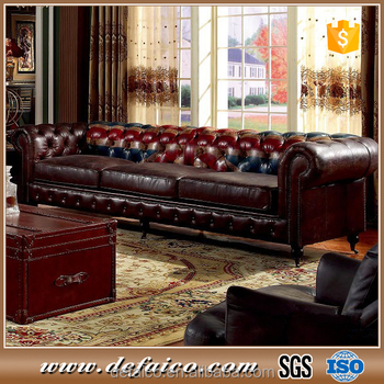 Living Room Genuine Leather Chesterfield Sofa With Union Jack Buy