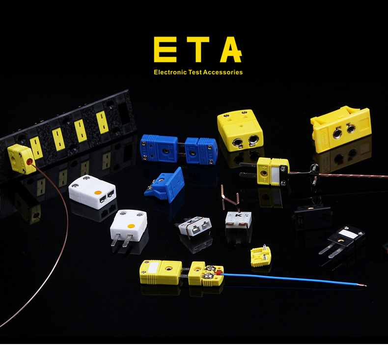 K , T , J Type Mini Plug Thermocouple Probe Connector