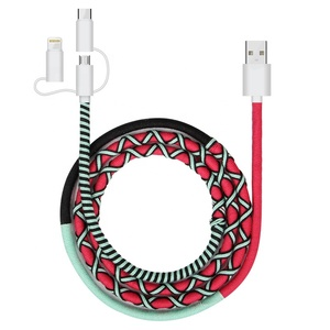 Urizons New Handmade Rope 3 in 1 USB Data Cable for iphone Micro Type-C Mobile Phone Rope Cord Colorful 2.0A Charger Cable SEDEX