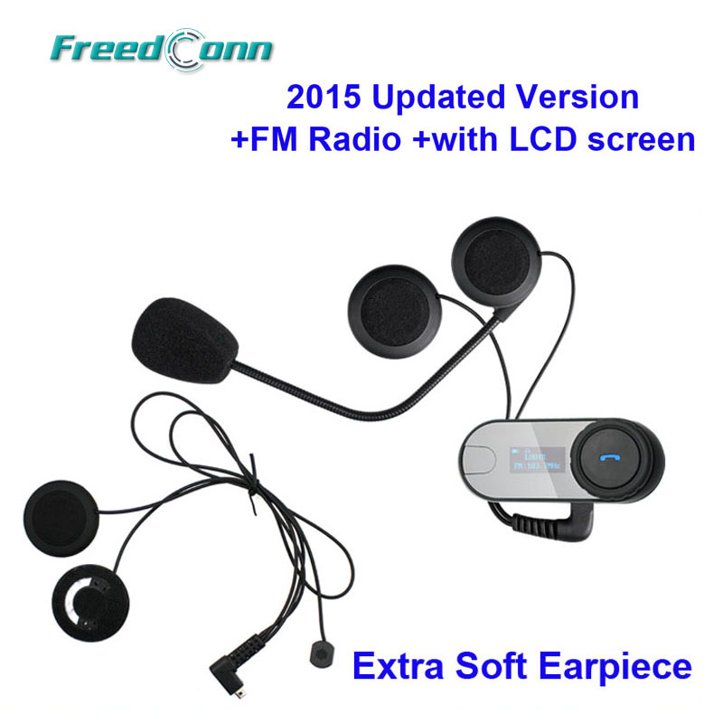 2015 New Updated Version!!TCOM-SC W/Screen BT Bluetooth Motorcycle Helmet Intercom Headset with FM Radio+Soft Earpiece