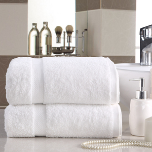 Bathroom products combed pure cotton jacquard craft white color bath towel for luxury hotel