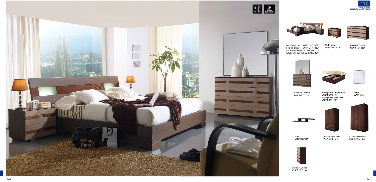 ESF 112 Contemporary Dark Brown Wood Finish Bedroom Set - Storage bed - King Size