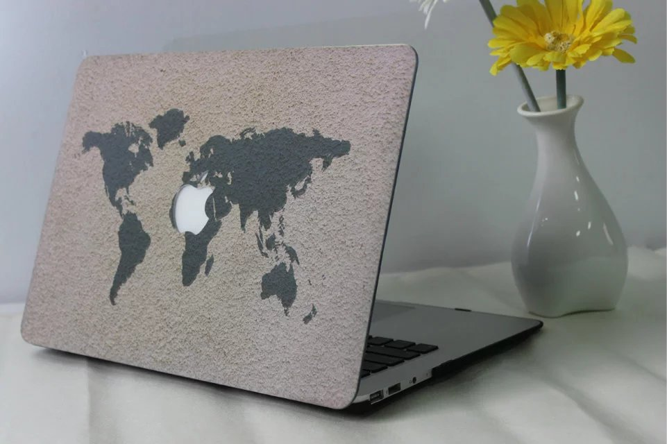 Computer Painting Laptop Hard Logo Cut-out Case for Mac MacBook Retina Air Pro 13 11 15 1706 1708