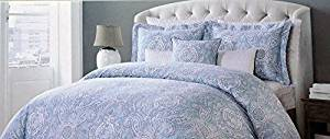 Tahari Bedding 3 Piece Full / Queen Duvet Cover Set Paisley Pattern in Shades of Light Blue and White