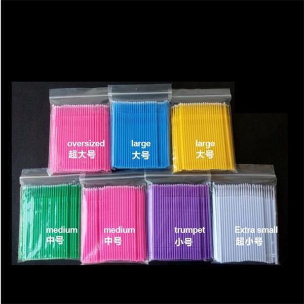 BLEU Coton applicateur micro pinceaux pinceaux pour le maquillage et les soins personnels brosse de mascara jetable colle /à cils nettoyage b/âton 100 pcs 4 couleurs