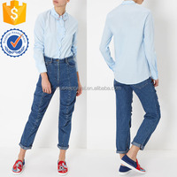 Blue Hand Collar Face Cotton Shirt Women Apparel Wholesaler Garment Clothing