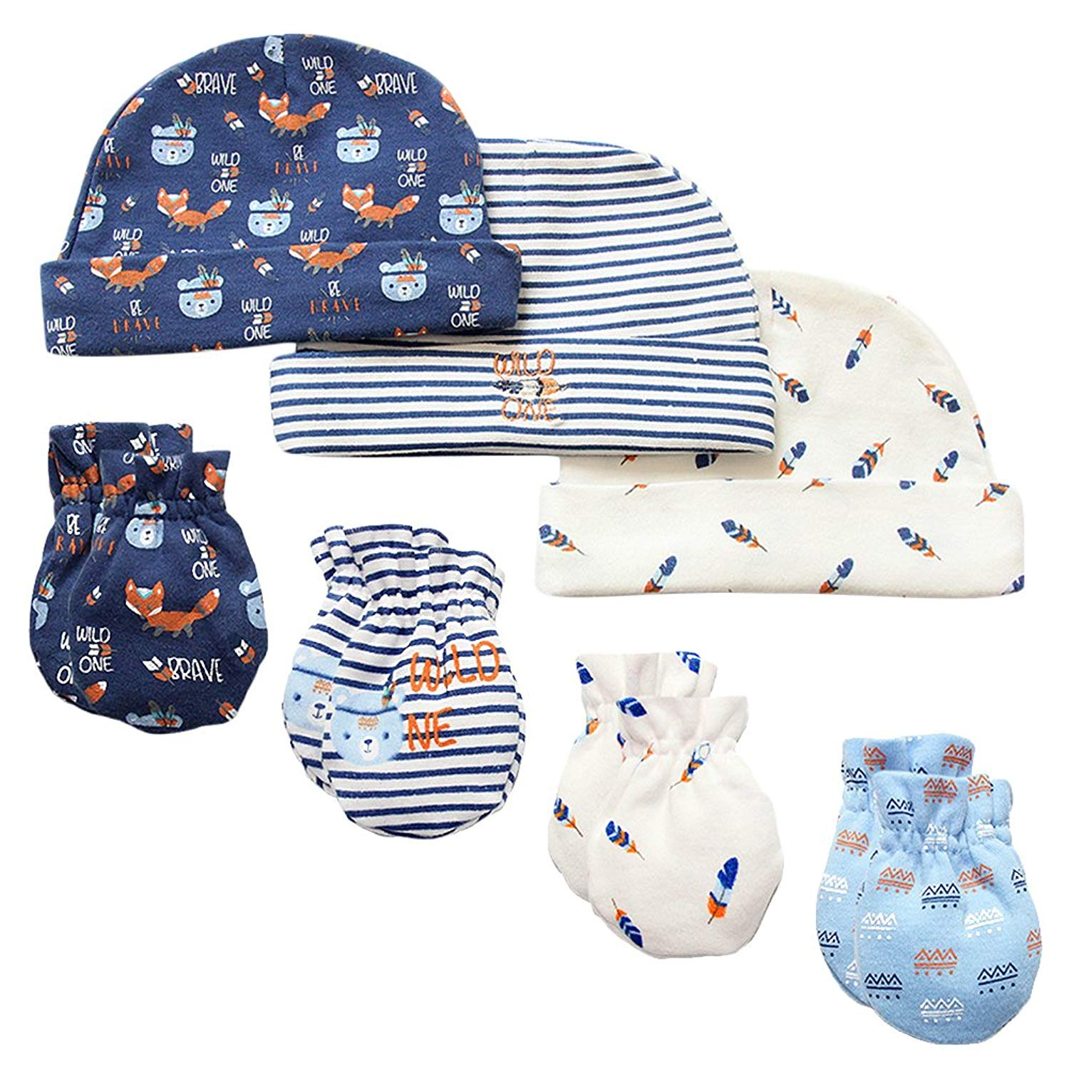 f3d0a89fa9b Get Quotations · 7 Piece Scratch Mittens and Caps Set Infant Newborn Gift  Set For Baby Boys   Girls