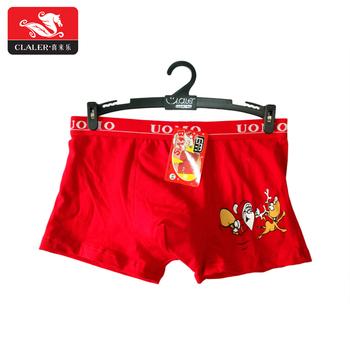 Custom Logo Tailleband Uomo Rood Katoen Kerst Boxershorts Modieuze
