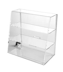 slanted front locking acrylic display case/cabinet with 3 shelves