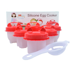 Newest Design Bpa Free Non Stick Heart Shape Egg Maker Boil Hard Boiled Set Silicone Egg Poacher Cooker Without Shell