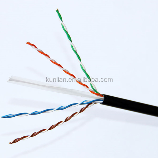PFT Factory lowest price blue/grey/yellow color Copper network cable 2/4pairs 24awg UTP Cat5e cable