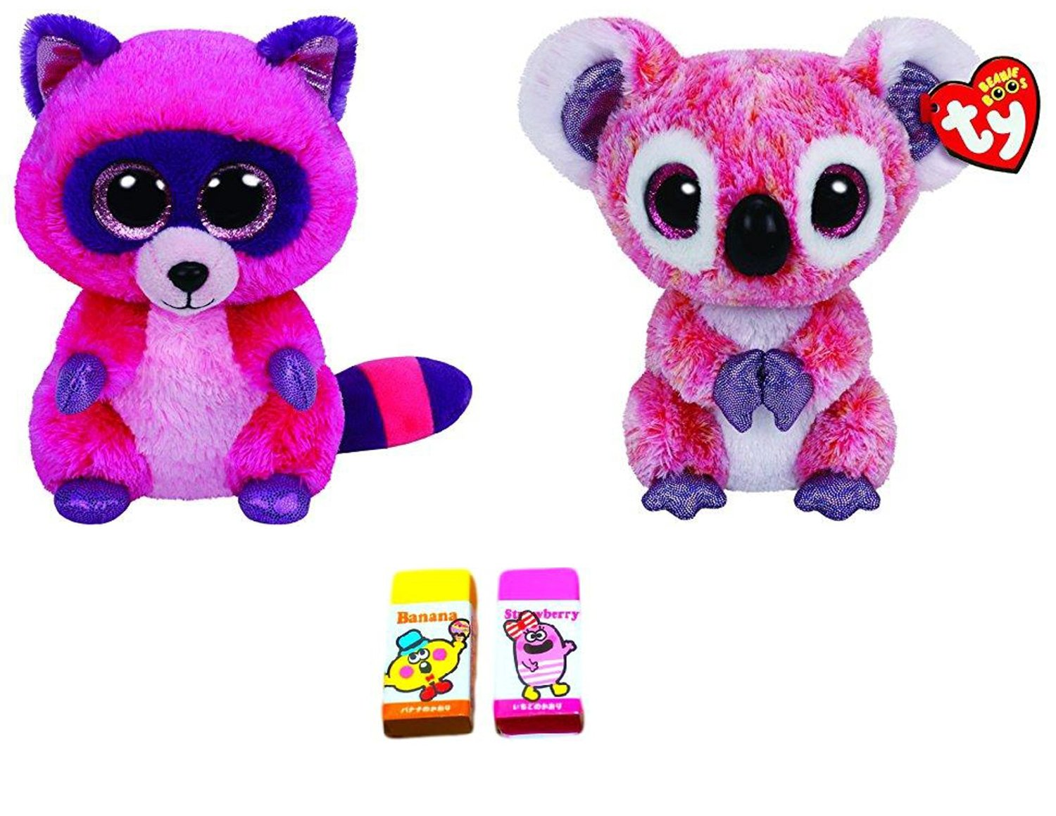 89419c5d48b TY Bundle Set of 2 Small 6 Roxie the Pink Raccoon and Kacey the Pink Koala