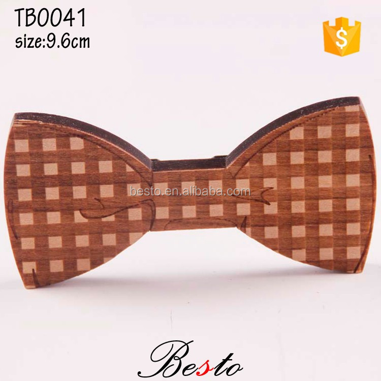 Factory direct men square pattern wood bow tie for suits decoration