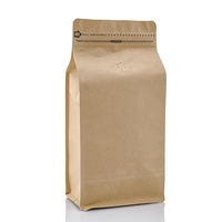 High quality 100g 250g 500g 1kg plain stock flat bottom brown kraft paper coffee bean bags with valve and ziplock