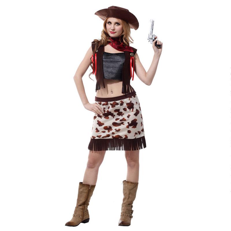 c57cc3b89d Halloween occidental vaquera sombrero damas vestido de fantasía Salvaje Oeste  vaquero mujeres adultos Cosplay Sexy traje