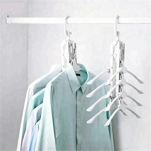 hot sale Multi-functional magic folding plastic clothes hanger for clothes 8 ranks set