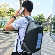 For 15.6 Inch Computer Grey Waterproof Anti-theft Business Laptop Backpack with solar energy mobile power USB Charging