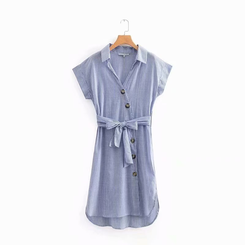 Summer new cotton vertical stripes short-sleeved personality button decoration system bandwidth loose dress woman