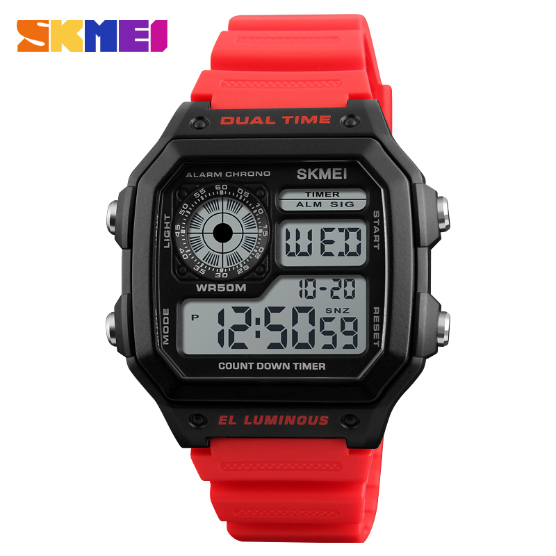 8a0be6bd7f6 Top Fashion Men Wrist Watch Retro Square Digital Multifunction Clock  Plastic 50M Waterproof Skmei 1299 Brand Dive Led Watch 2018