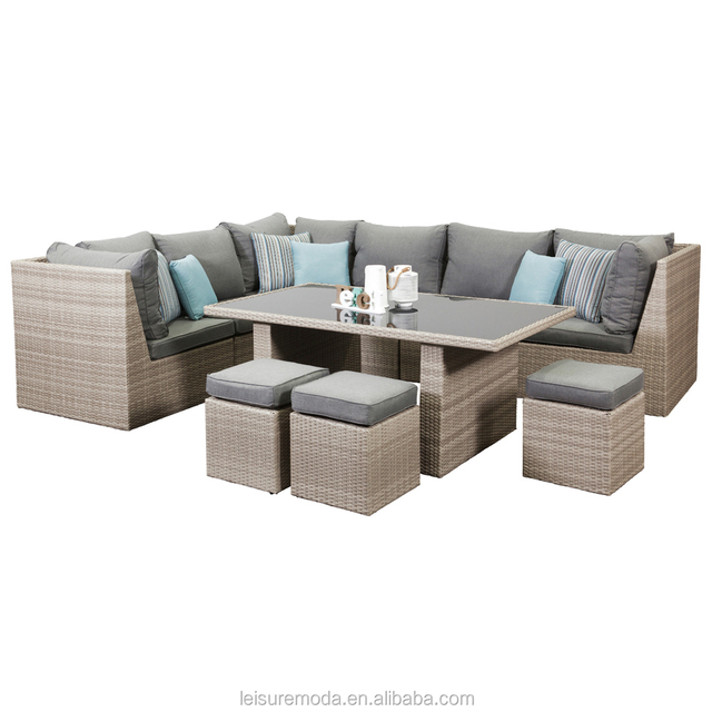 New Model Style 9 Seater Rattan Corner Sofa, Poly Rattan Sofa Set Garden  With Gray