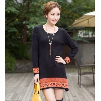 National style cashmere  knitted sweater for ladies women sweater dress