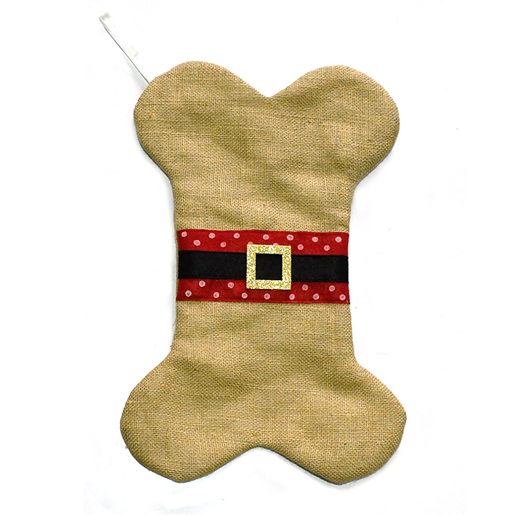 Large Christmas Stocking for Dogs Cats Pets Jute Natural Burlap Dog Bone Shape Hanging Dog Christmas Stocking