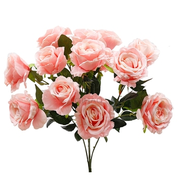 15 Heads Artificial Silk Rose Bouquet High Quality Fabric Wedding Flower Bunches for Decoration