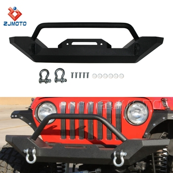 Factory Wholesale Steel Front Bumper With 4.75 D-Ring Textured For 1987-2006 Jeep TJ/YJ Wrangler Models