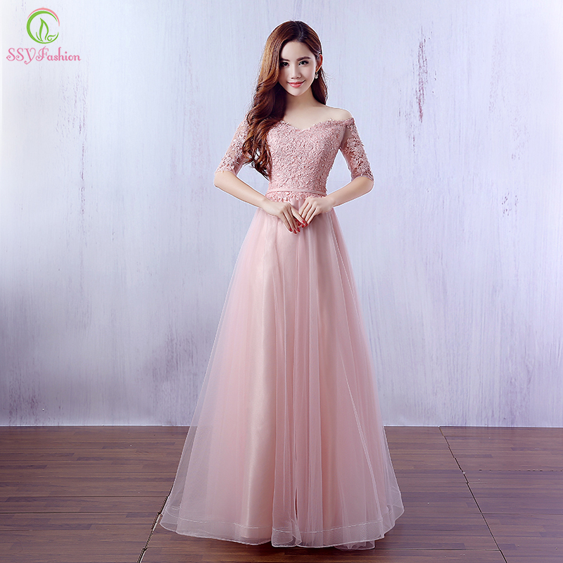 Ssyfashion Long Sleeve Wedding Dresses The Bride Elegant: Aliexpress.com : Buy Robe De Soiree New Fashion Pink Lace