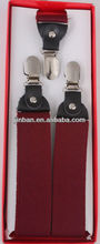 mens leather burgundy cross silk suspender