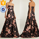 Rose Print Bustier Satin Gown High End OEM/ODM Women Apparel Clothing Garment Wholesaler Womenwear