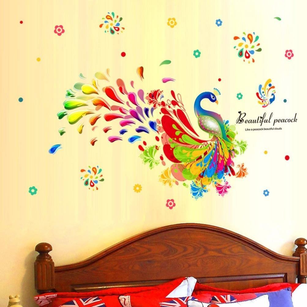 Iuhan® Fashion Colorful Peacock Removable Decor Environmentally Mural Wall Stickers Decal