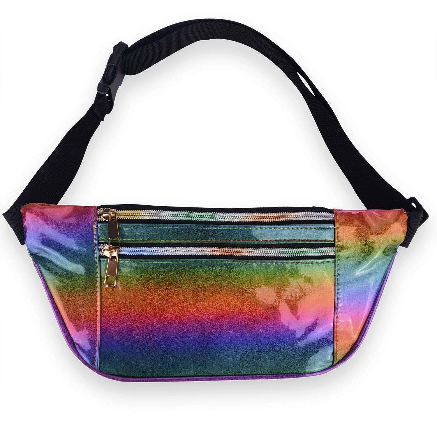 Get Quotations · LEADO Holographic Fanny Pack Metallic 80s Neon Fanny Packs  for Women and Men, Fashion Waist 1ce5f5aa94