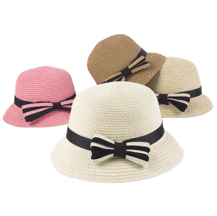 921cba3c Gran nudo de lazo bebé sombreros viajar paja Pantalla de sol sombrero de  verano