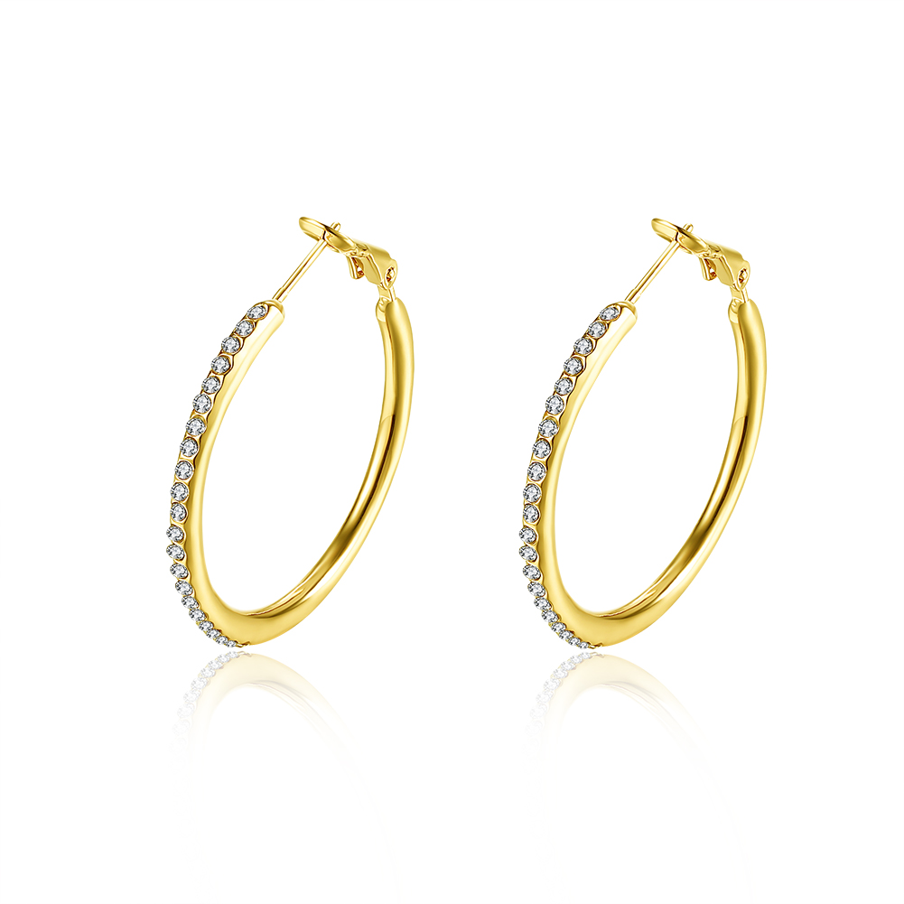 2018 Fashion Jewelry Plated 18K Yellow Gold Crystal Hoop Earring