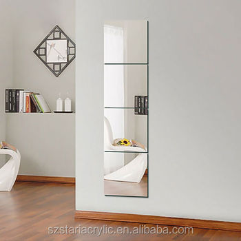 Mirror Tiles Self Adhesive Back Square Bathroom Wall Stickers
