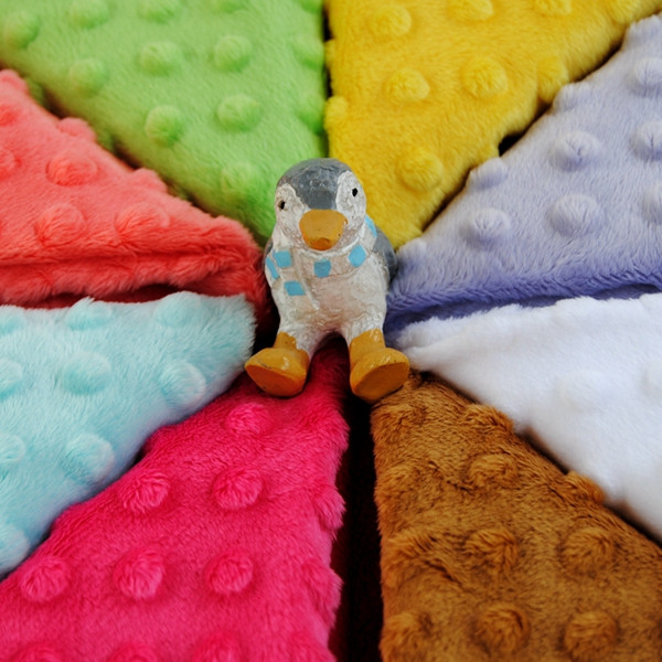 27 Colors Available Wholesale Soft Hand Feel Cuddle Dot Minky Fabric MOQ 50m Can Mix Colors
