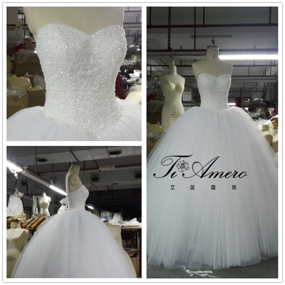 2017 Ball Gown Designers Beaded Top Pearls Sweetheart Wedding Dress Tiameron A-line Bridal Dress THX7502