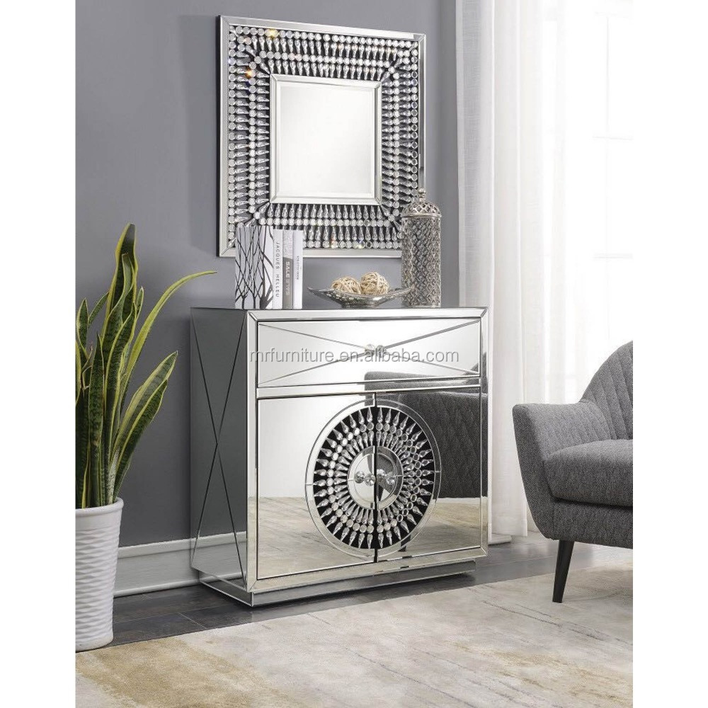Crystal Good Design Mirrored 2 Doors Night Stand Side Table for Bedroom Furniture