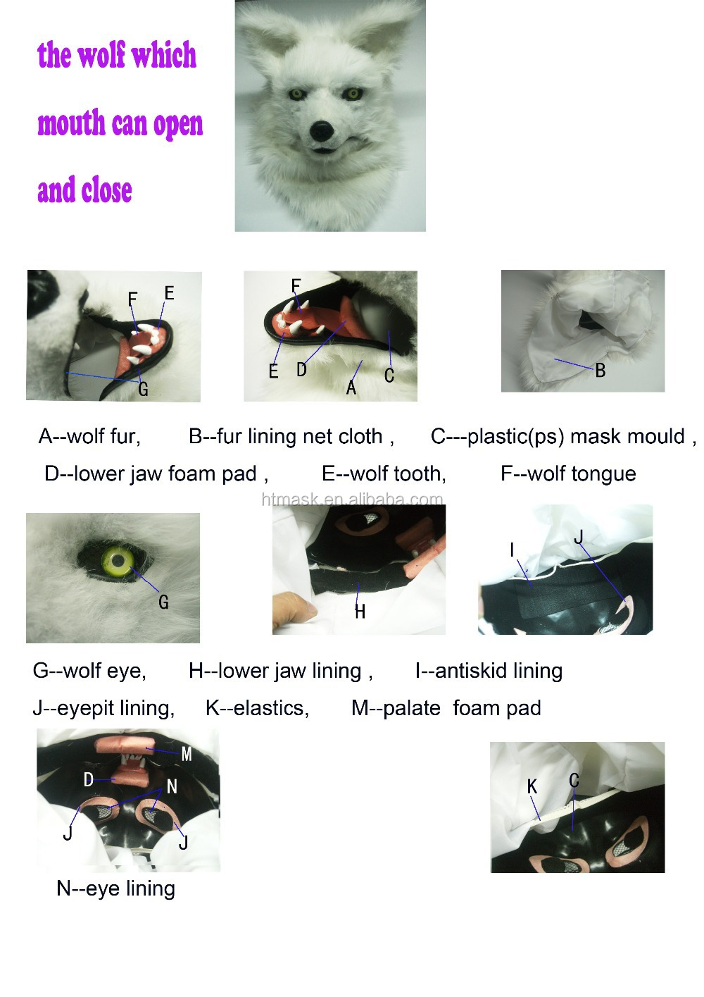 Halloween Mask Festival Cosplay Furry Mask Moving Mouth Mask - Buy ...