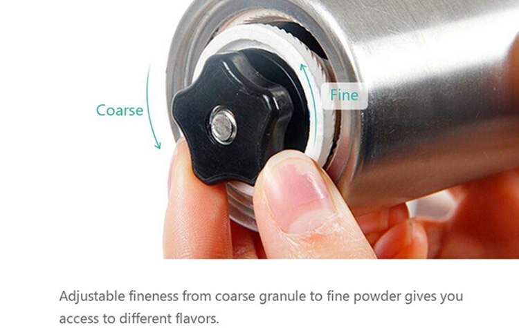 Amazon hot selling mini stainless steel manual coffee mill with aluminum knob