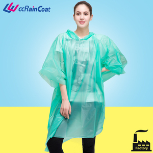 durable PEVA raincoat with cap not sticking skin