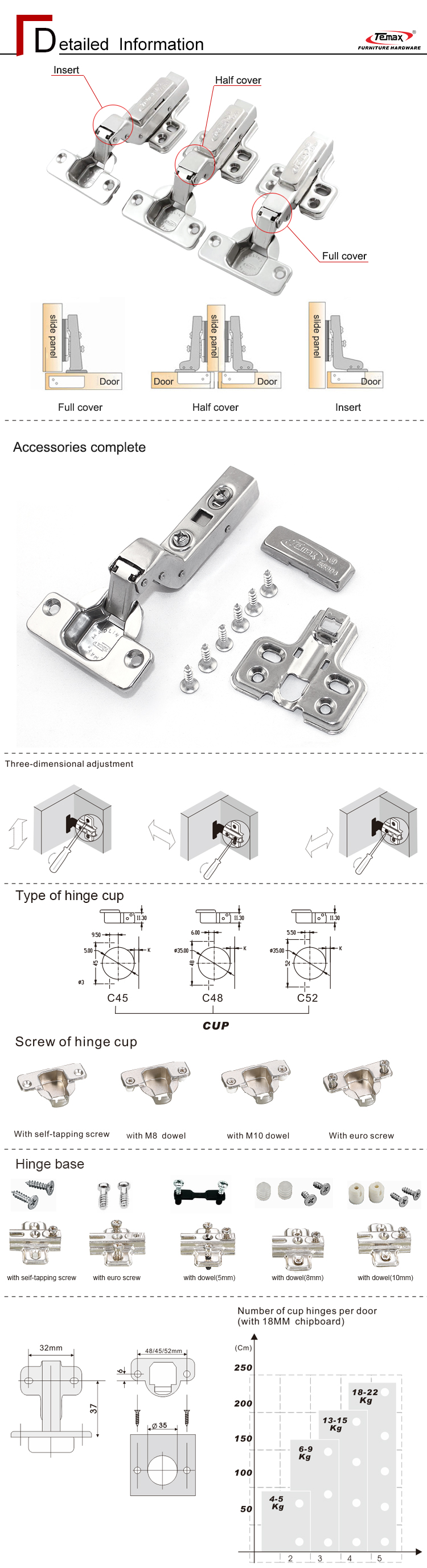 35Mm Soft Closing In Cup Clip-On Hinges Adjustable Two Way Hydraulic Touch Open Soft Close Hinge