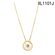 New hot sell <span class=keywords><strong>shell</strong></span> madreperla cerchio ciondolo in oro collana fantasia collana dei monili delle donne