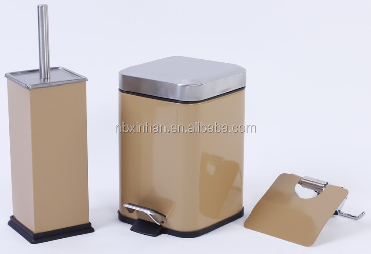 New square stainless steel bathroom sets colorful toilet brush holder and pedal bin
