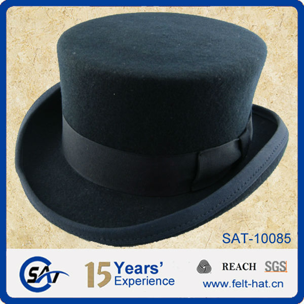 Formal Headwear 100% Wool Felt Low Crown Top Hat - Buy Low ... cf10e7da614