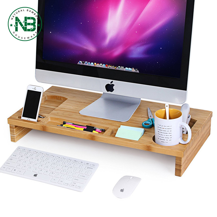 Bamboo Monitor Stand Riser with Storage Organizer, Laptop Cellphone TV Printer Stand Desktop Container Monitor Stand