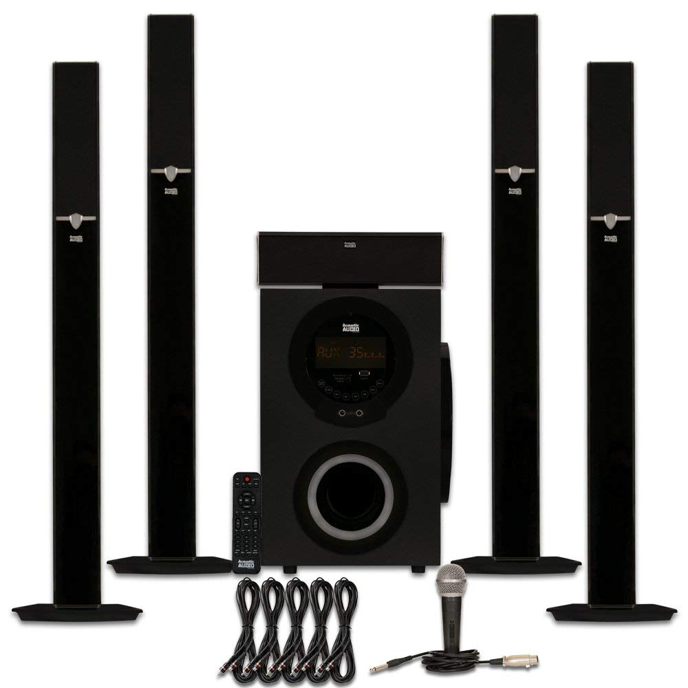 Acoustic Audio AAT3003 Tower 5.1 Bluetooth Speaker System with Microphone and 5 Extension Cables